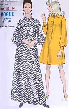 1960s Mod Step In Shirt Dress Pattern Gloria Vanderbilt 60s Style, Full Bishop Sleeves Day or Evening Length Vogue 7219 Vintage Sewing Pattern Bust 32 FACTORY FOLDED