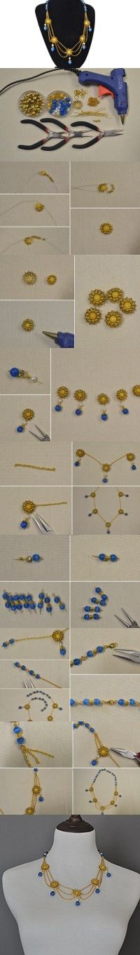 New Idea for Jewelry Making- How to Make a Beaded Flower Link Chain Necklace from LC.Pandahall.com