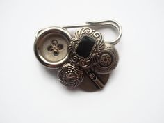 button jewellery pin made with vintage buttons by maxollieandme, £5.50