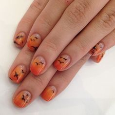 Vacation, Sunset, Beach Nail Design