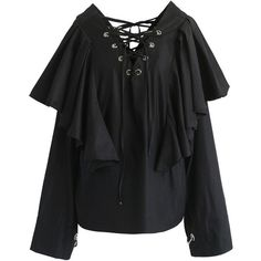 Chicwish Lace-up Glee Frilling Top in Black ($59) ❤ liked on Polyvore featuring tops, blouses, black, lace top, lace up top, loose fitting tops, lace up front blouse and lace up blouse