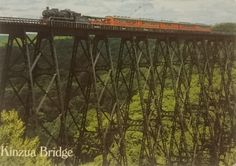 Postcard received from the USA: Kinua Bridge near Mt. Jewett, PU. Built in 1882 and rebuilt in 1900 for heavier trains. The fourth hoghest railroad bridge in the world (swap: East Postcard #9)