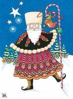 Santa by Mary Engelbreit Mary Christmas, Christmas Pictures, Christmas Art, All Things Christmas, Christmas Holidays, Xmas, Whimsical Christmas, Father Christmas, Primitive Christmas