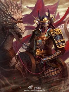 """Samurai on a dragon (""""Do you honestly think that samurai warriors rode dragons? Ronin Samurai, Samurai Warrior, Afro Samurai, Ninja Warrior, Fantasy Warrior, Fantasy Art, Fantasy Samurai, Character Portraits, Character Art"""