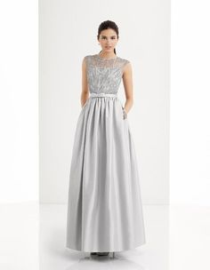 Beautiful silver full length ball gown. Perfect for mother of the bride or groom. Wedding wear, Dresses, ladies fashion. Scotland, UK.