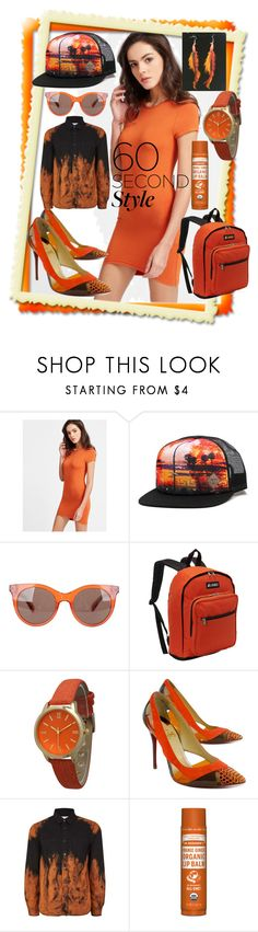 """orange bodycon tee dress"" by caroline-buster-brown ❤ liked on Polyvore featuring Society, Marc Jacobs, Everest, Olivia Pratt, Christian Louboutin, Dr. Bronner's, tshirtdresses and 60secondstyle"