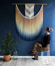 """Large Macrame Wall Hanging – from size small to – Dip dyed Wall Hanging Tapestry – Macrame Curtains – """"Eva"""" – Makramee Large Macrame Wall Hanging, Tapestry Wall Hanging, Wall Hangings, Yarn Wall Art, Macrame Curtain, Macrame Art, Decoration Design, Diy Wall, Wall Decor"""