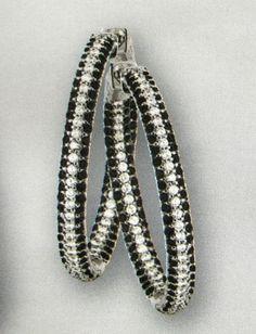 Inside Outside Black White Pave CZ Hoop Earrings  
