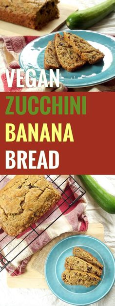 This vegan zucchini bread is moist, delicious, and bursting with sweet banana flavor, cinnamon, crunchy walnuts and sweet raisins.