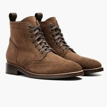 Brown High Ankle Suede Leather Wing Tip Full Brogue Toe Handmade Boots US 7-16 - £123.59