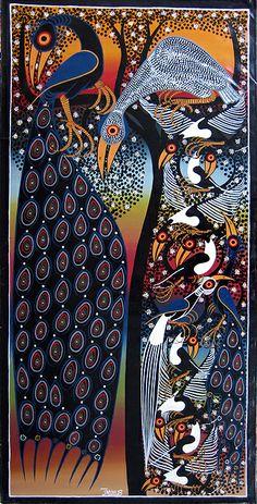 (Tinga Tinga) Tingatinga art of Tanzania. by Bakir. Aboriginal Art, Gond Painting, Lovers Art, Indian Art, Mandala Design Art, Rhythm Art, Fabric Painting, Traditional Paintings, Africa Art