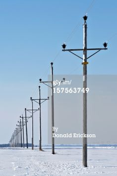Stock Photo : electric power lines in winter