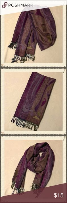 "Oversized Wrap/Scarf/Shawl Gorgeous oversized scarf, large enough to be worn as a wrap or shawl. Shades of purple, magenta, and olive green. Gently worn. Only a few very minor pulls in the fabric (examples shown in pics). Brand and material are unknown as there is no tag attached. Measures 22x80"". Accessories Scarves & Wraps"