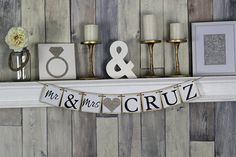 This mr and mrs banner is the perfect wedding banner to use as engagement party decor, house decor, or as a sweetheart table sign. PICTURED MR