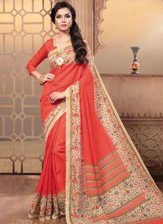 Latest Designer Traditional Orange Colored Casual Wear Sari 22641 Beautiful Pure Silk Printed Daily Wear Saree For Women