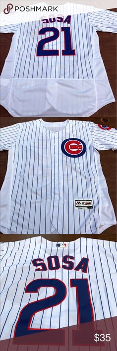 Men's Sammy Sosa Chicago Cubs home jersey (M) Chicago Cubs Men's Sammy Sosa home jersey. Brand new with tags, Majestic Athletic, fully embroidered Flex Base on field jersey. Please check my other listings for more Cubs merchandise! Rizzo. Bryant. Russell. Ross. Schwarber. I've got em all! Majestic Shirts Casual Button Down Shirts