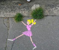 Oh lord. This summer we NEED to find two patches of grass and make a girl cheerleading with grass as her pom poms!