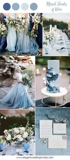 Romantic mixed shades of blue beach wedding inspiration for 2018 trends #Weddingscolors