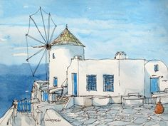 Santorini Oia, Greece  This is art print from my original pen drawing and watercolor painting. Printed on Epson Archival Matte Paper, 192 g/m², with