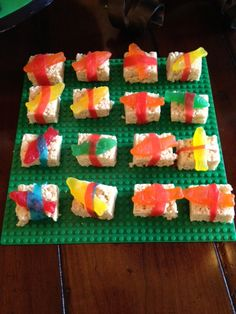 Kids Candy Sushi. This was a big hit with my sushi loving boy at his Ninjago birthday party. I can't say all of the combos actually tasted great together but you can easily take the candy off and enjoy the wonder that is rice crispy treats.
