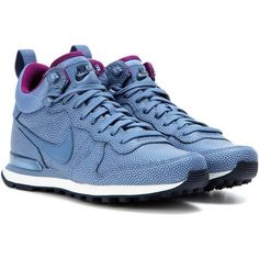 Nike Internationalist Mid Leather Sneakers ($91) ❤ liked on Polyvore featuring shoes, sneakers, blue, blue leather shoes, leather shoes, blue leather sneakers, blue shoes and genuine leather shoes