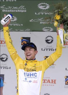 Kiel Reijnen celebrates after winning the first stage of the Tour of Utah on Monday, Aug. 3, 2015 in Logan, Utah. Click through for a photo gallery of the Tour of Utah. (Photo by Eli Lucero)
