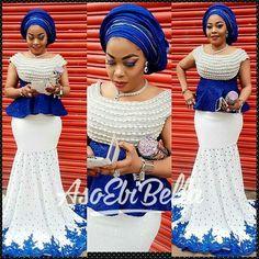 Blue and white aso ebi styles