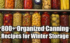 800+ Organized Canning Recipes for Winter Storage. canning recipes, pickling, canning; dry, water bathing or pressure. This is the mother-load of recipes