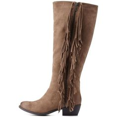 Charlotte Russe Taupe Flat Fringe Knee-High Boots by Charlotte Russe... ($46) ❤ liked on Polyvore featuring shoes, boots, taupe, side zip boots, western boots, taupe knee high boots, knee high boots and distressed cowboy boots