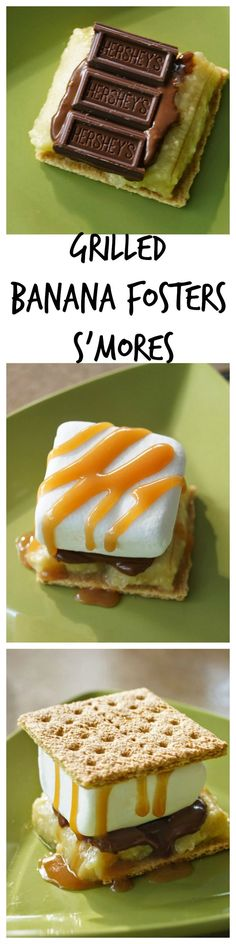 Easy 5 Ingredient Grilled Banana Fosters S'mores #letsmakesmores #ad