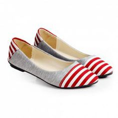 $11.10 Retro Casual Fashionable Preppy Style Color Matching Stripes Splicing Flat Heel Shoes For Women