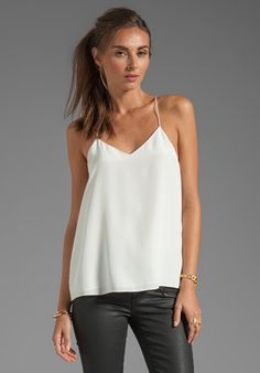 TIBI Silk Cami in White or black at Revolve Clothing -