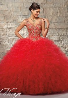 Red Ruffled Tulle Princess Ball Gown with Contrasting Embroidered & Beaded Bodice Quinceanera Dress Designed by Vizcaya Morilee Madeline Gardner. Matching Stole included. Colors available: Stiletto/Gold, Navy/Silver and Coral/Gold. Style 89037.
