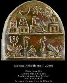 tablette akkadienne -2000 Dieu lune Sin Dieu soleil Shamash