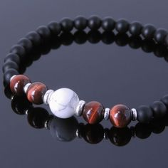 6mm Natural Red Tiger Eye & 8mm White Howlite. 5mm Matte Black Onyx. Multiple Extra Strong Stretchable Cords(Made in Germany). Men's Handmade Healing Gemstone Sterling Silver Bracelet. Extra & Free - To show that we care, an alteration kit will be included along with extra matching crystal/gemstone bead(s); just in case you wish to extend or reduce the size of your bracelet a little. | eBay!
