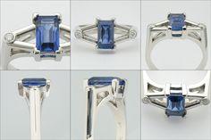 custom ring - sapphire, diamond, platinum - by Micky Roof For You Blue, Sapphire Diamond, Custom Design, Gems, Bling, Jewels, My Style, Accessories, Jewel