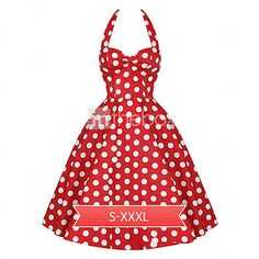 Women's Vintage 1950's Prom Polka Dot A-line Halter Swing Dress - USD $ 12.99