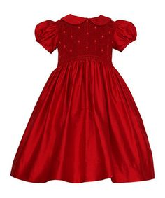 Rich in color and delightful details, this party-perfect puff-sleeve frock will charm little ones with its glossy silk fabric, embroidered bodice and prim collar.
