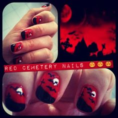 halloween nails - red cemetery
