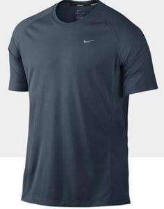 Nike Mens UV Stay Cool Miler Blue Mesh Short Sleeve Running Shirt XL 821930-464 #Nike #ShirtsTops