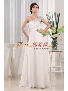 Pretty White One Shoulder Beading Prom Celebrity Dress In 2013  http://www.fashionos.com   | free shipping prom dress | prom dress with ruching | floor length prom gown | 2013 new arrival prom dress | 2013 hot seller evening dresses | light in the box evening dresses | high quality prom gown with dropped waist | tide buy evening gowns | one shoulder prom gown |  Let the wind catch the light, sheer layers of this radiant prom dress. That is sure to capture the attention of onlookers.
