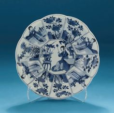 *FOR SALE* Click to read about the history and see more detailed images* KANGXI BLUE & WHITE MOULDED & SHAPED 'LANGE LIJZEN' DISH, China, c1700