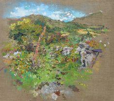 Oil painting of the Kerry Way. Irish Landscape, Contemporary Landscape, Garden Painting, Landscape Paintings, Scenery, Stone Walls, Oil, Blackberry, Artist