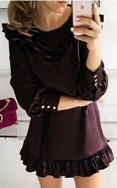 #fall #outfits ·  Cute Purple Dress
