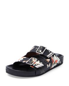 Swiss+Floral-Print+Double-Buckle+Sandal+by+Givenchy+at+Bergdorf+Goodman.