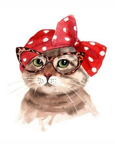 Buy Lady Cat in Glasses - Retro Cat, Watercolour by Olga Beliaeva on Artfinder. Discover thousands of other original paintings, prints, sculptures and photography from independent artists.