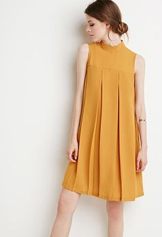 Buy it now. LOVE21 Women's  Mustard Contemporary Pleated Trapeze Dress. STYLE Forever 21 Contemporary - A sleeveless dress with a mock neck on a large box-pleated trapeze silhouette.Buttoned keyhole backWoven, unlined100% polyesterHand wash coldMade in ChinaFIT Measured from Small36%22 full length, 41%22 chest, 50%22 waist , vestidoinformal, camisole, túnica, shift, pleat, pleated, drape, t-shape, daisy, foldedshoulder, summer, loosefit, tunictop, swing, day, offtheshoulder, smock, print…