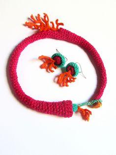 https://flic.kr/p/eBYsTh | juego coralino | juego tejido en crochet con hilos de algodón. Corales del trópico