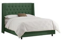 Alex Tufted Wingback Bed, Green Linen