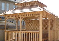 x Custom cedar hot tub enclosure by Flamborough Patio Garden Structures, Outdoor Structures, Gazebo, Pergola, Tub Enclosures, Outdoor Spaces, Patio, Sunrooms, Outdoor Stuff